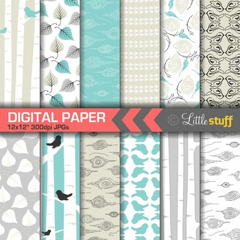 Birch Forest Digital Paper Pack, Turquoise and Silver