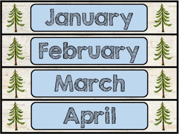 Birch Bark & Woodland Animals Theme: Calendar Pieces