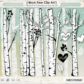 birch tree clip art line art tree silhouettes woods forest friends rh teacherspayteachers com clipart birch tree birch tree clip art free