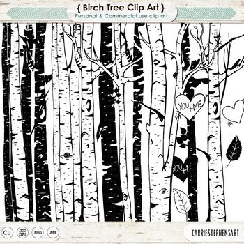 Birch Tree Clip Art, Line Art , Tree Silhouettes, Woods, Forest Friends