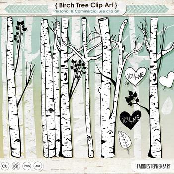 Birch Tree Clip Art, PNG Line Art + Photoshop Brushes, Tre