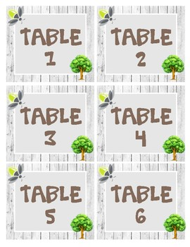 Birch Tree Decor Table Numbers 1-6