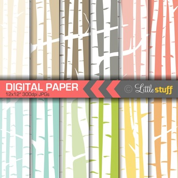 Birch Tree Digital Backgrounds, Birch Forest Digital Paper, White Birch Woods