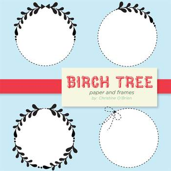 Birch Tree Paper and Wreath Frames Set