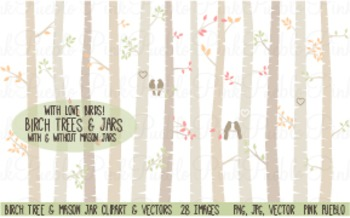 Birch Trees and Mason Jars Clipart Clip Art - Commercial and Personal Use