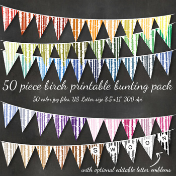 Printable Bunting - Birch Woodland Forest Bunting Flags