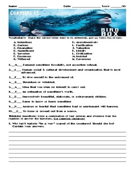 Bird Box by Josh Malerman Chapter 43 Worksheet/Assessment