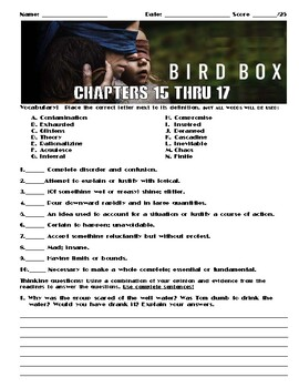 Bird Box by Josh Malerman Chapters 15-17 Worksheet/Assessment