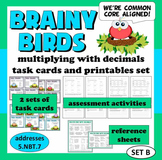 Brainy Birds - multiply decimals/whole numbers task cards + printables (set b)