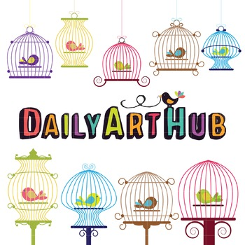 Bird Cage Clip Art - Great for Art Class Projects!