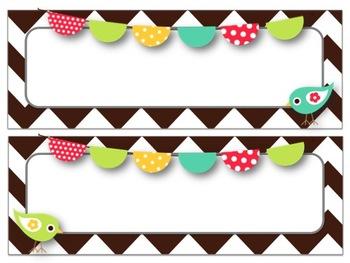 Bird & Chevron Desk Tags & Name Plates