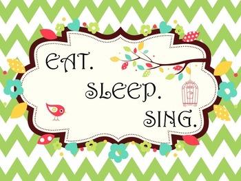 Bird Chevron Eat.Sleep.Sing.