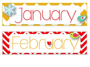 graphic about Months of the Year Printable identify *Chook Chevron Themed* Weeks of the 12 months Printable