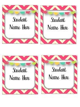 Bird & Chevron Welcome Banner & Student Name Cards {Editable!}