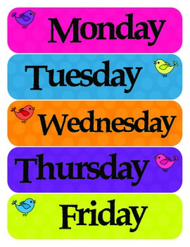 Bird Classroom Theme - Door,Days of the week, Weather, Locker Tags and MORE!