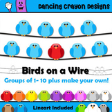 Bird Clip Art: Birds on a Wire Clipart Set