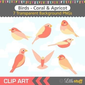 Bird Clip Art, Coral Birds Clipart