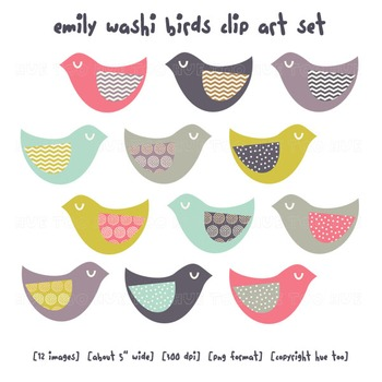 Bird Clip Art, Pink, Aqua, Blue, Purple, Mustard Yellow, Polka Dots, Chevron