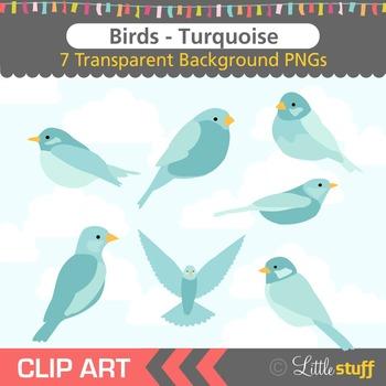 Bird Clip Art, Turquoise Birds Clipart