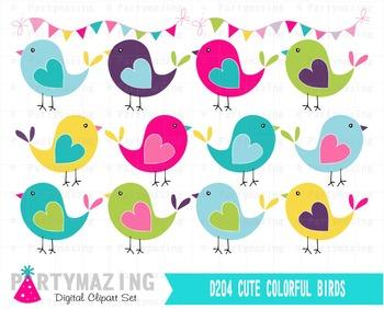 Bird ClipArt Set, Hand drawn Bright Colors Clip ArT Set, I