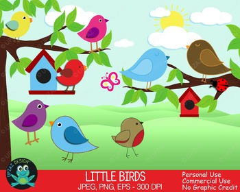 Bird Clipart, Bird House, Butterfly, Lady Bug {Upzaz Digital Clipart}