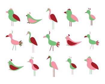 Bird Clipart, Digital Clipart, Digital Design, Bird Clipart Set #096