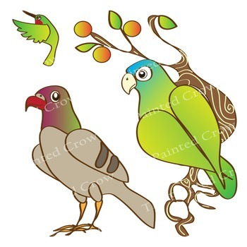 Bird Clipart Set - Color and Black Line Illustrations - Birds and their Food