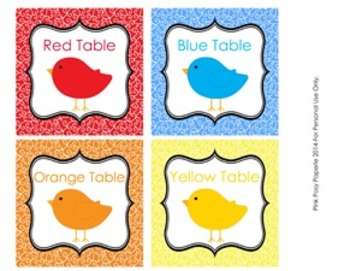 Bird Color Table Labels - 8 Different Colors