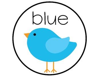 Bird Color Word Signs