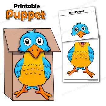 Bird Craft Activity | Paper Bag Puppet Template