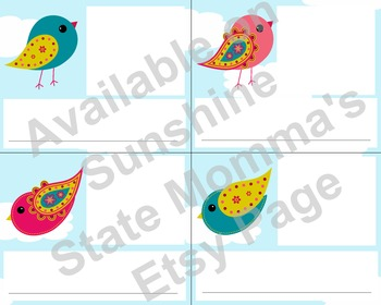 Bird Cubby Labels