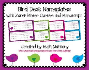 Bird Desk Name Plate with Zaner Bloser Cursive and Manuscript