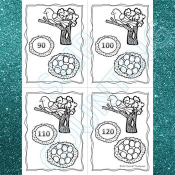 """Bird Eggs """"Skip Counting Flash Cards"""" (By 10)"""