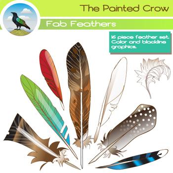 Bird Feathers Clip Art - 16 Piece Set - Color and Blackline