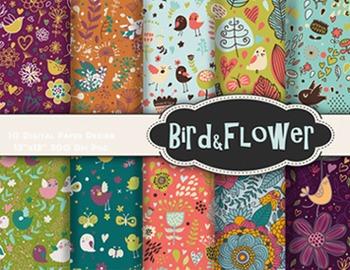 Bird Flower Digital Paper Bird Flower Scrapbook Paper Cute Bird Background Paper