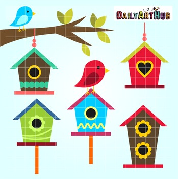 Bird Houses Clip Art - Great for Art Class Projects!