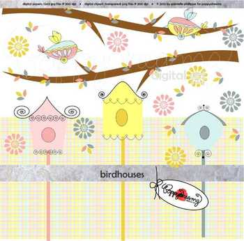 Bird Houses Clipart by Poppydreamz