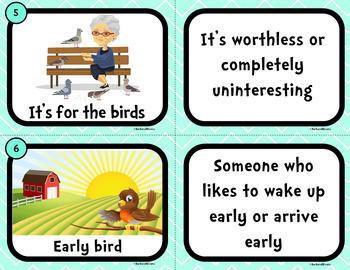 IDIOMS UNIT: Idioms Activity, Idioms, Idiom Task Cards, Literacy Center, Games