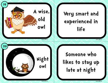 IDIOM TASK CARDS Bird Idioms Idioms Activity Literacy Center Games