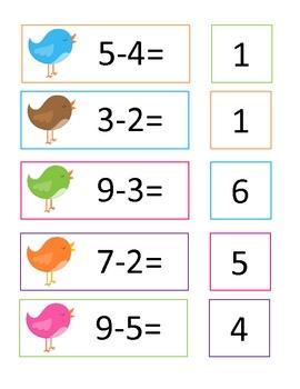 Bird Math Fact Match * Math Center * Pocket Chart Activity