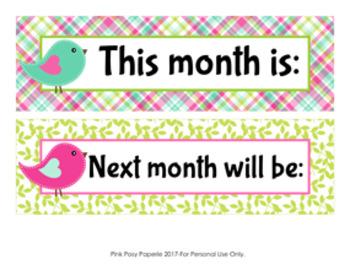 Bird Monthly Calendar Headers