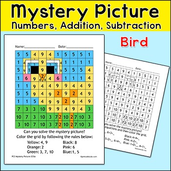 Spring Activities Bird Math Mystery Picture