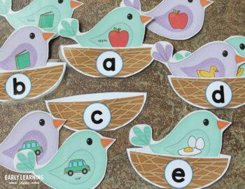 Bird Nest Alphabet and Beginning Sound Matching Activities