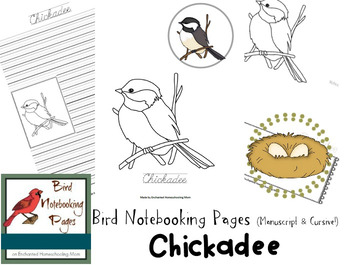 Bird Notebooking Pages Weekly Series Chickadee Pack