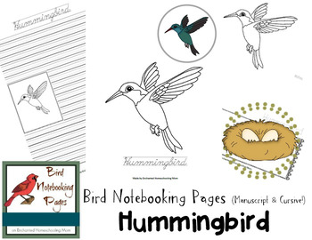 Bird Notebooking Pages Weekly Series Hummingbird Pack