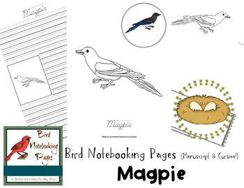 Bird Notebooking Pages Weekly Series Magpie Pack