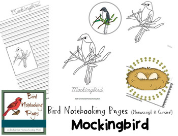Bird Notebooking Pages Weekly Series Mockingbird Pack