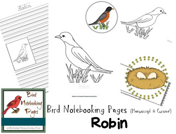Bird Notebooking Pages Weekly Series Robin Pack