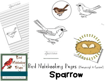 Bird Notebooking Pages Weekly Series Sparrow Pack