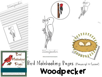 Bird Notebooking Pages Weekly Series Woodpecker Pack